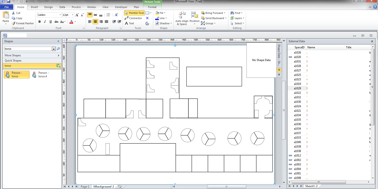 Floor plans linked to active directory data displaying in for Blank floor plan